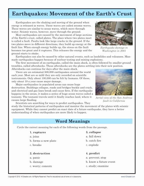 Reading Comprehension Worksheets 7th Grade Kids Earthquakes