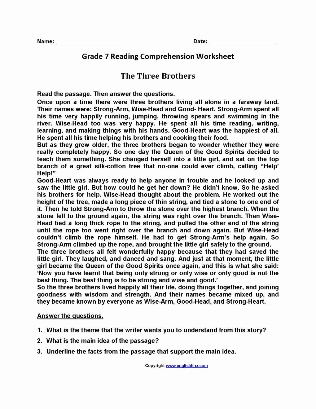 Reading Comprehension Worksheets 7th Grade Lovely 12 7th Grade Summarizing Worksheet
