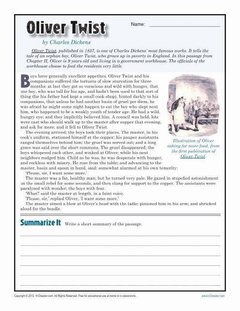Reading Comprehension Worksheets 7th Grade New Oliver Twist