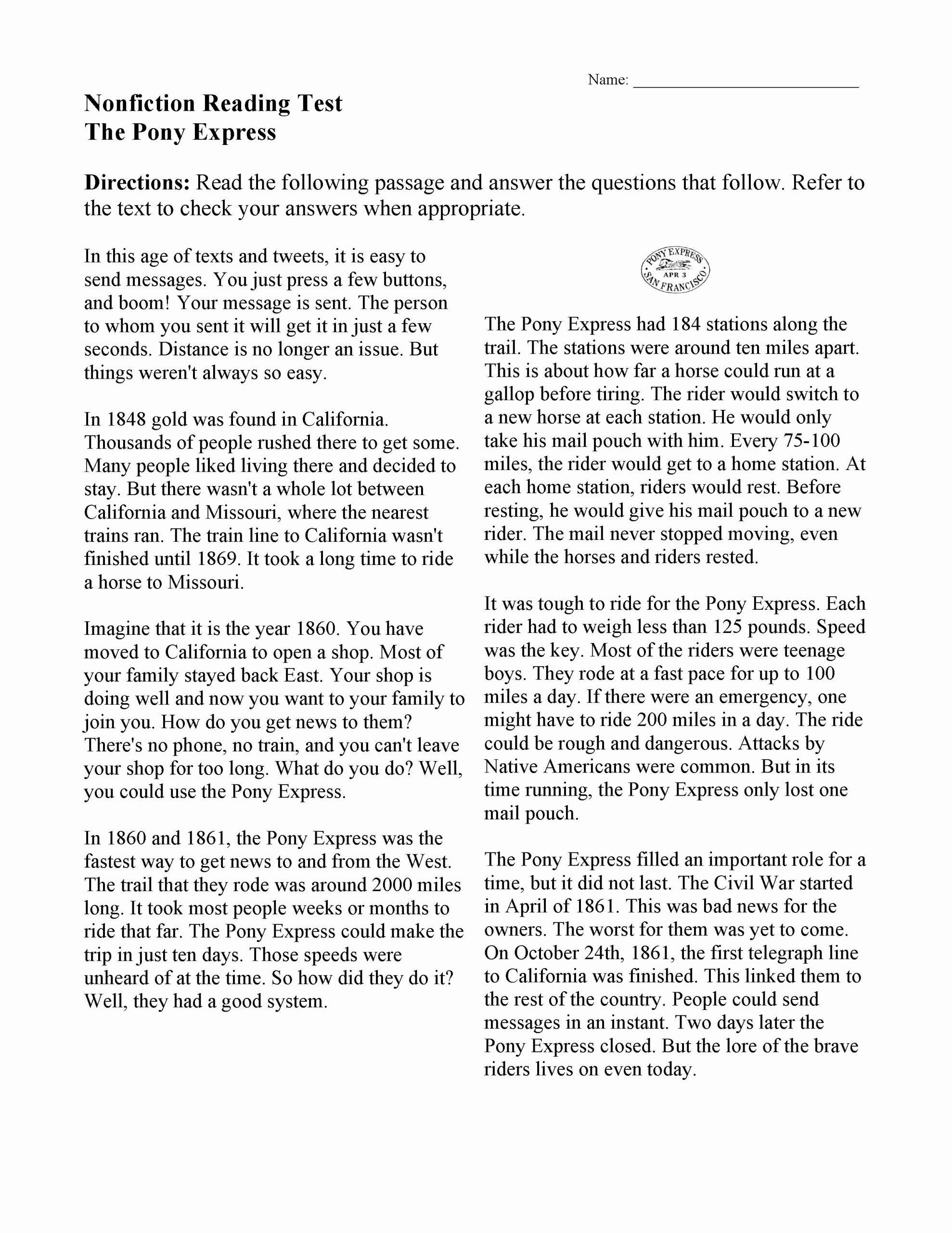 Reading Comprehension Worksheets 7th Grade Printable Reading Prehension Worksheets