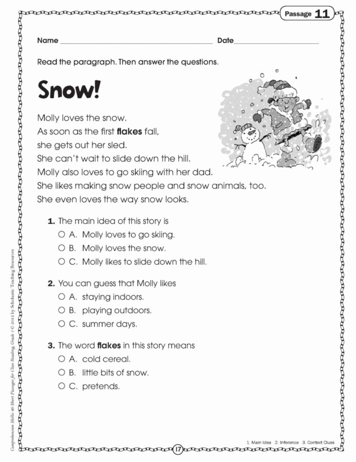 Reading Comprehension Worksheets 7th Grade Printable Worksheet Grade Reading Prehension Worksheets Free Pdf