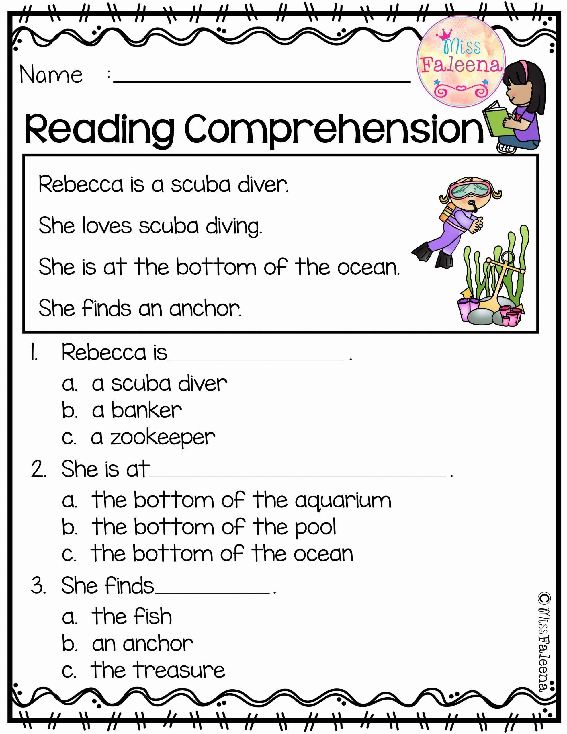 Reading Comprehension Worksheets for Kindergarten Best Of June Reading Prehension is Suitable for Kindergarten