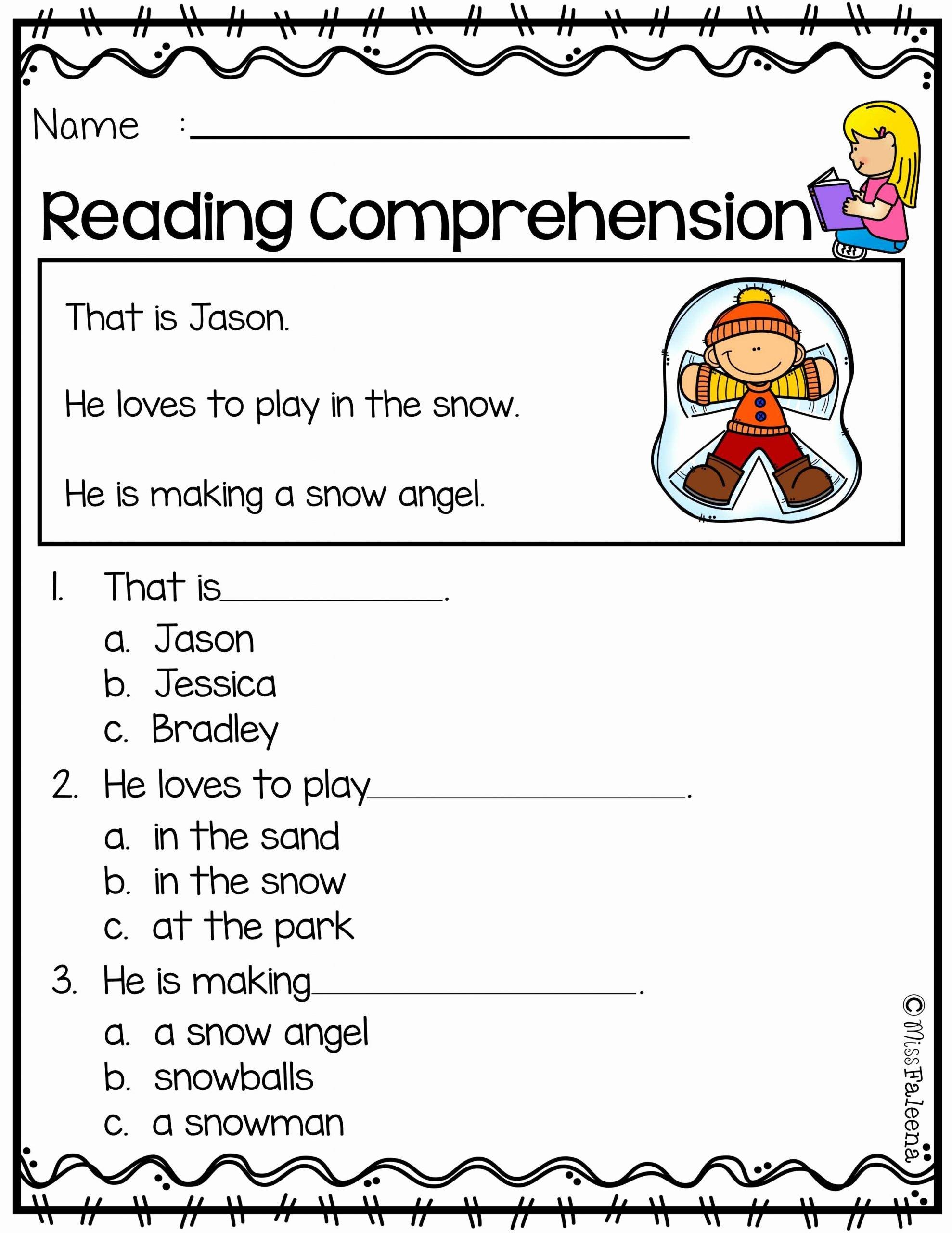 Reading Comprehension Worksheets for Kindergarten Kids Free Reading Prehension