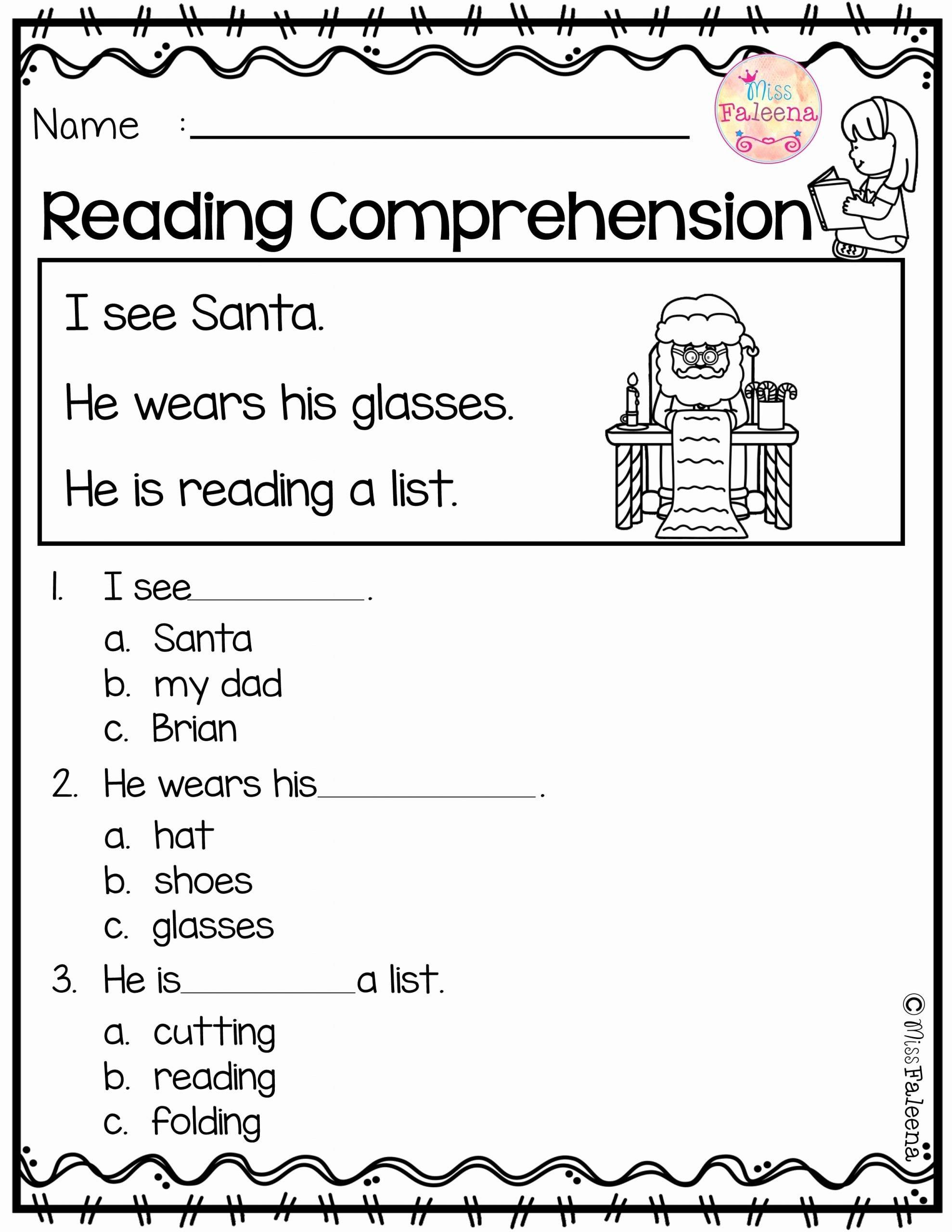 Reading Comprehension Worksheets for Kindergarten Printable December Reading Prehension
