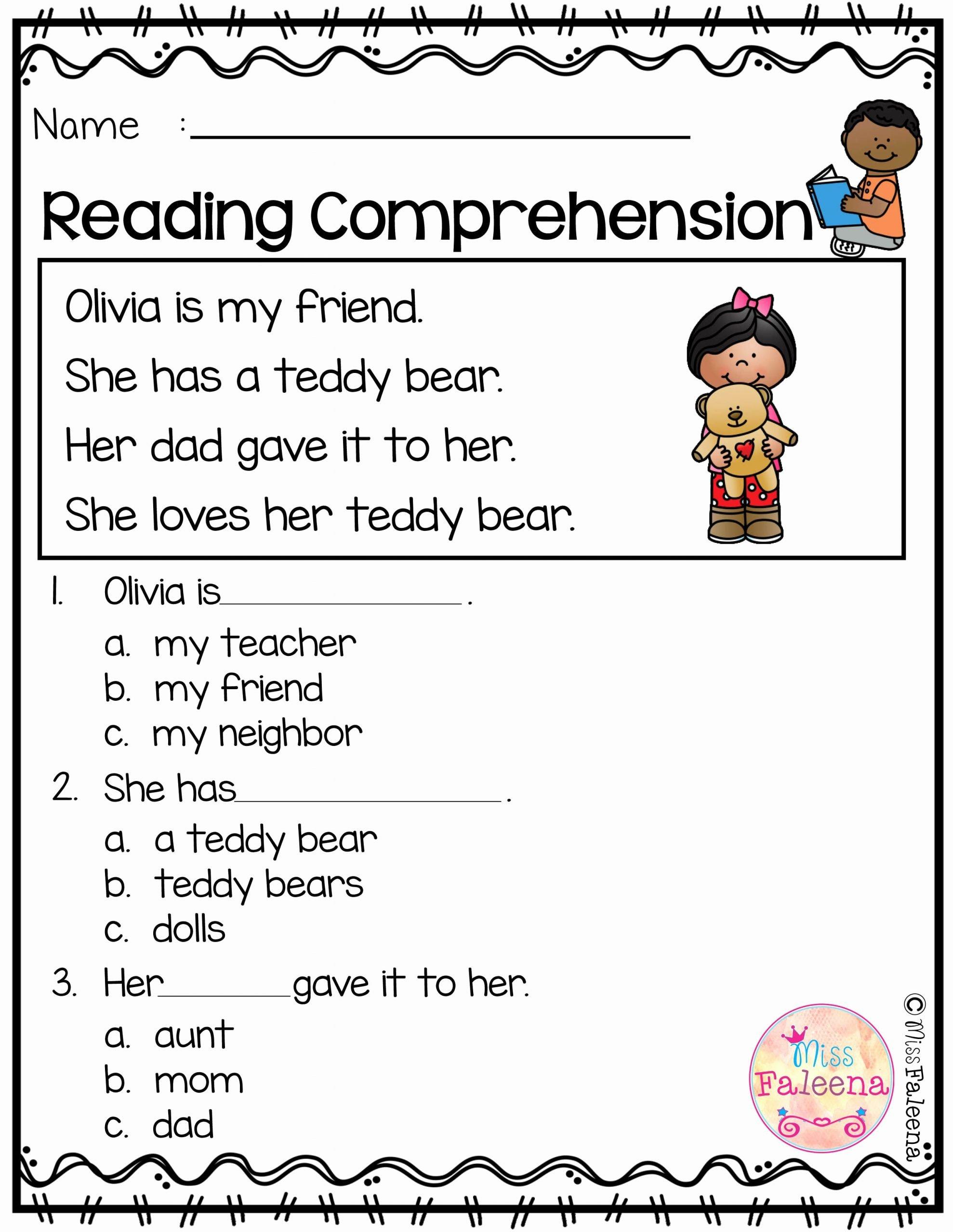 Reading Comprehension Worksheets for Kindergarten top Free Reading Prehension
