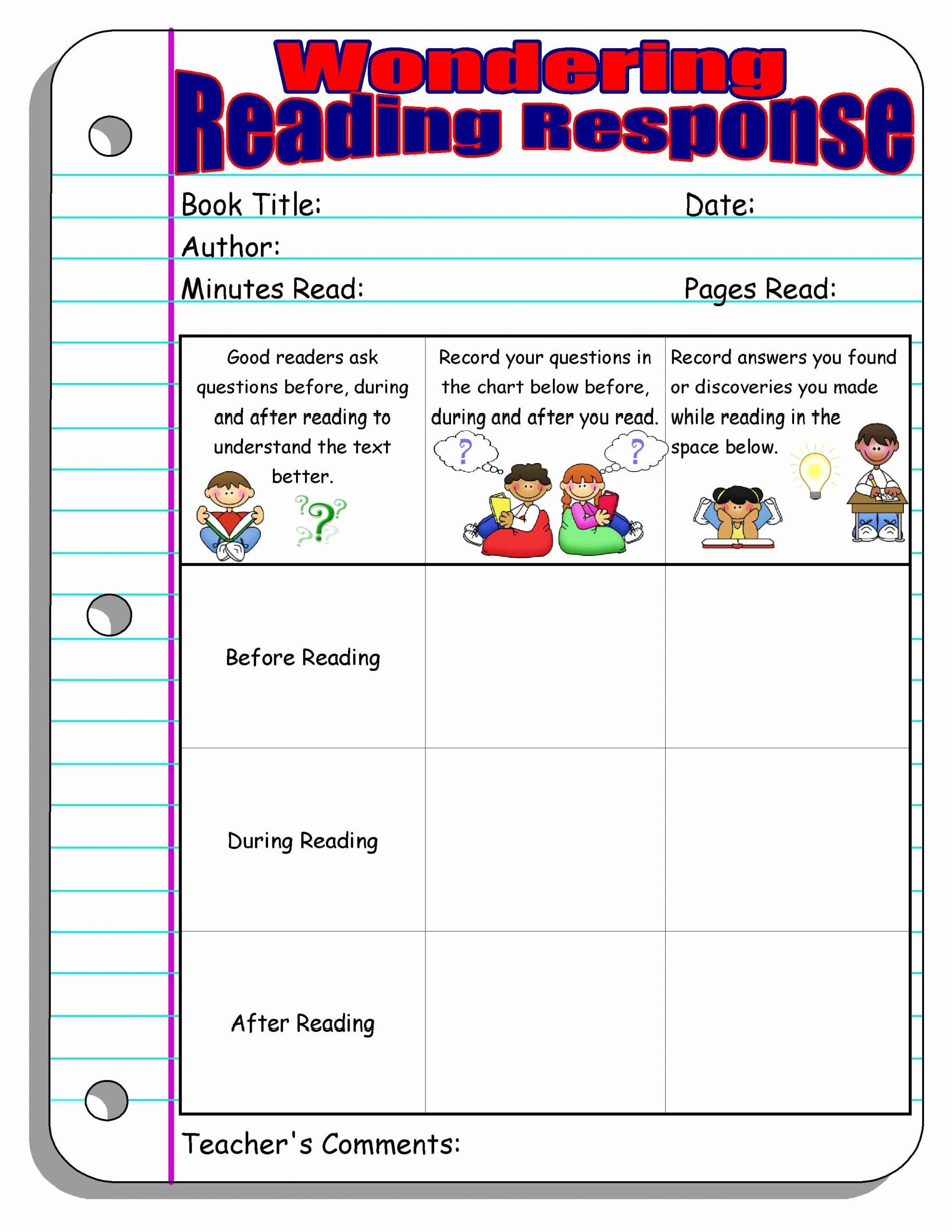 Reading Response Worksheets Middle School Best Of Reading Response forms and Graphic organizers