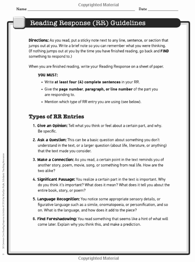 Reading Response Worksheets Middle School Free 5 Reading Response Activities to Invite Higher Thinking