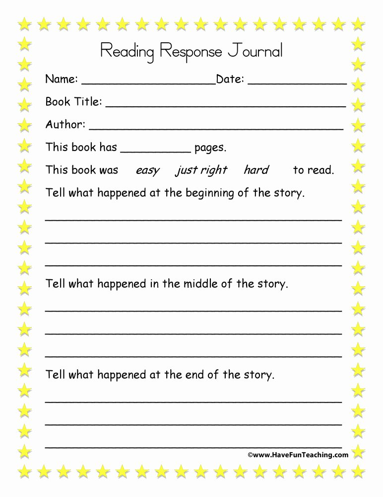 Reading Response Worksheets Middle School New Beginning Middle End Reading Response Journal