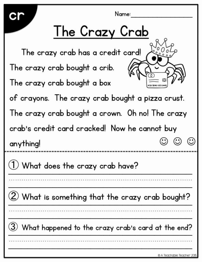 Reading Worksheets for 1st Grade top Worksheet First Grade Reading Worksheet Phonics Activities