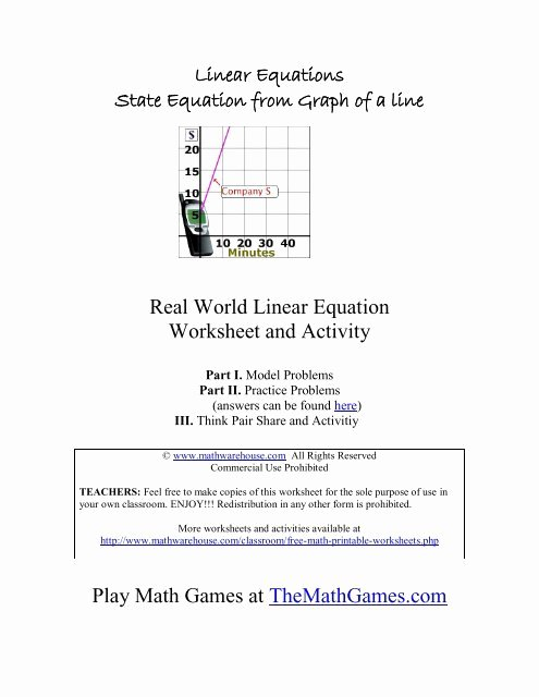 Real World Math Problems Worksheets Kids Real World Linear Equation Worksheet and Activity Math