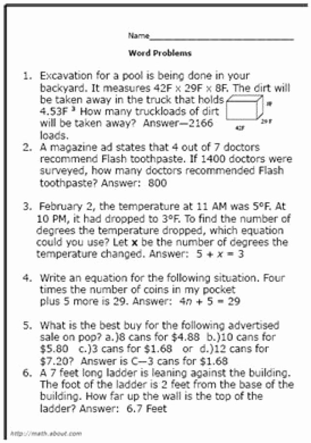 Real World Math Problems Worksheets New are some Good Math World Problems for 8th Graders Word Free