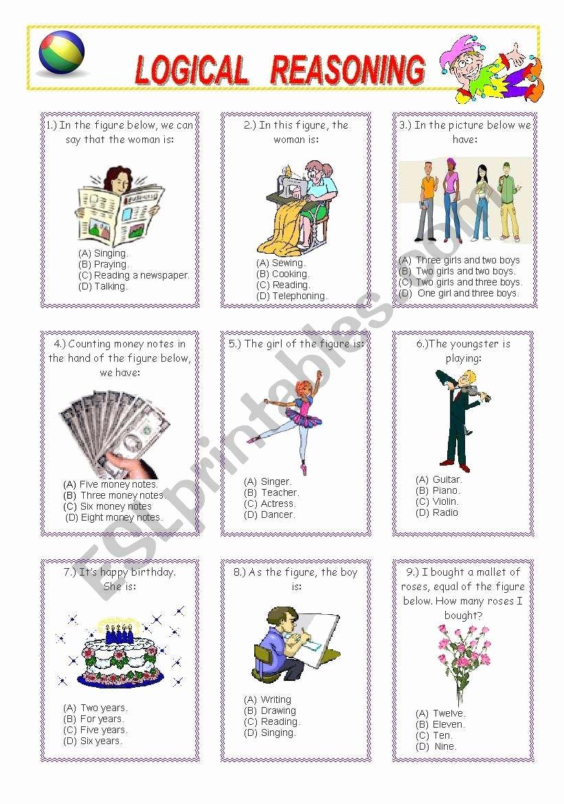 Reasoning Worksheets for Grade 1 Free Logical Reasoning 1 2 Esl Worksheet by Venezababi