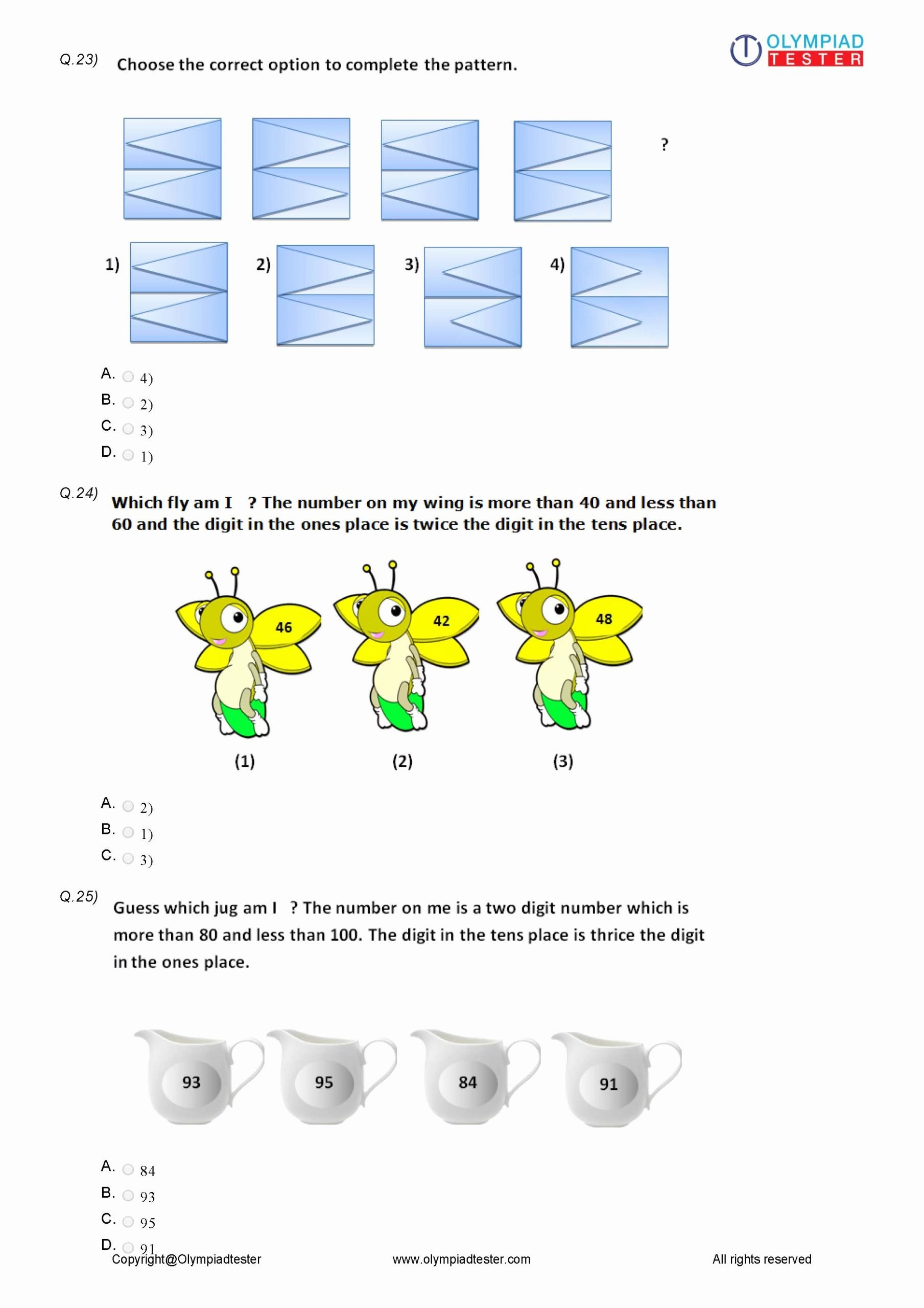 Reasoning Worksheets for Grade 1 Printable Class 3 Logical Reasoning Worksheet 12