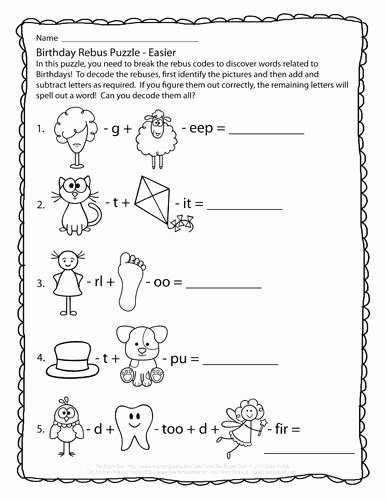 Rebus Puzzles for Kids Worksheet Free Perplexing Puzzles 1 28 15