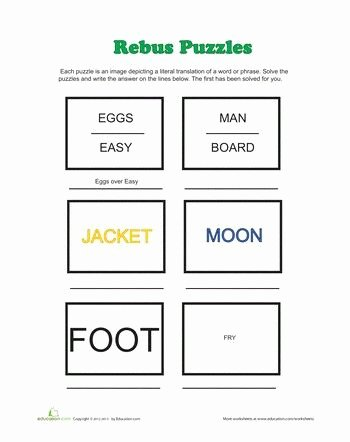 Rebus Puzzles for Kids Worksheet Fresh Rebus Puzzles