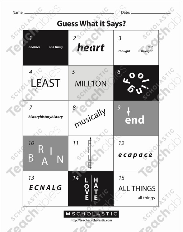 Rebus Puzzles for Kids Worksheet Printable Guess What It Says Rebuses