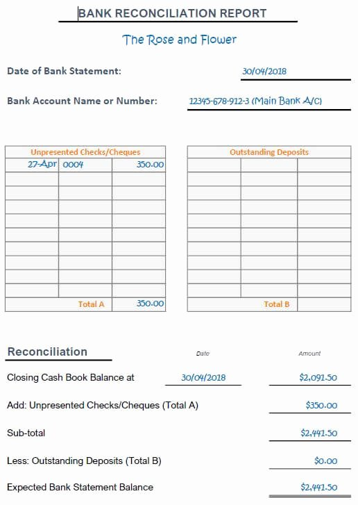 Bank Reconciliation Worksheet April Bank Rec Excercises