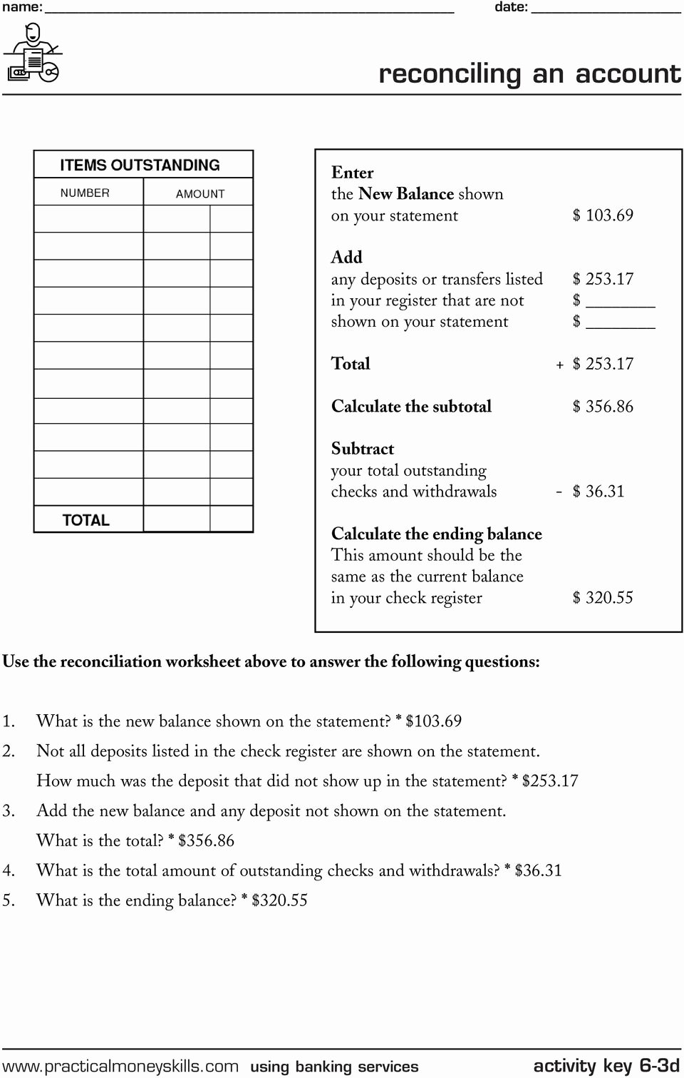 Reconciling A Bank Statement Worksheet Lovely Keeping A Running Balance Pdf Free Download