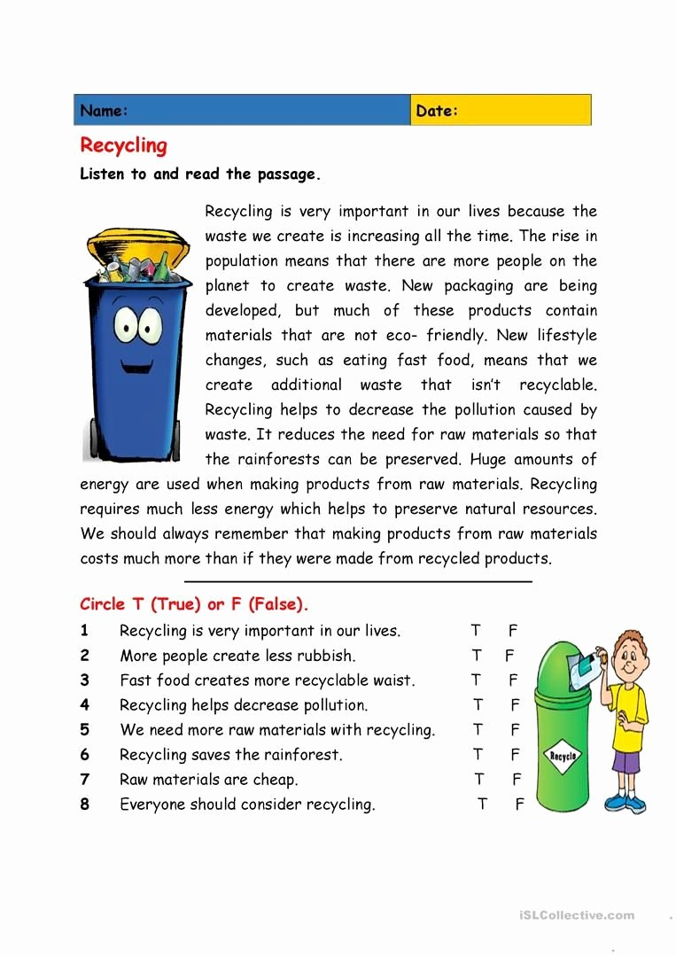 Recycling Worksheets for Middle School Ideas Recycling