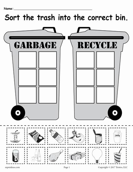 Recycling Worksheets for Middle School Ideas sorting Trash Earth Day Recycling Worksheets 4 Printable