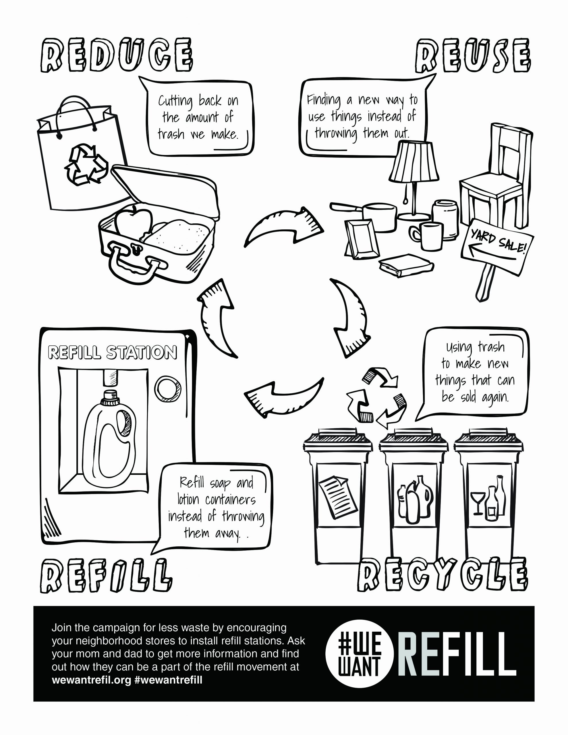 Recycling Worksheets for Middle School top Free Downloadable Coloring Page for Kids We Want Refill