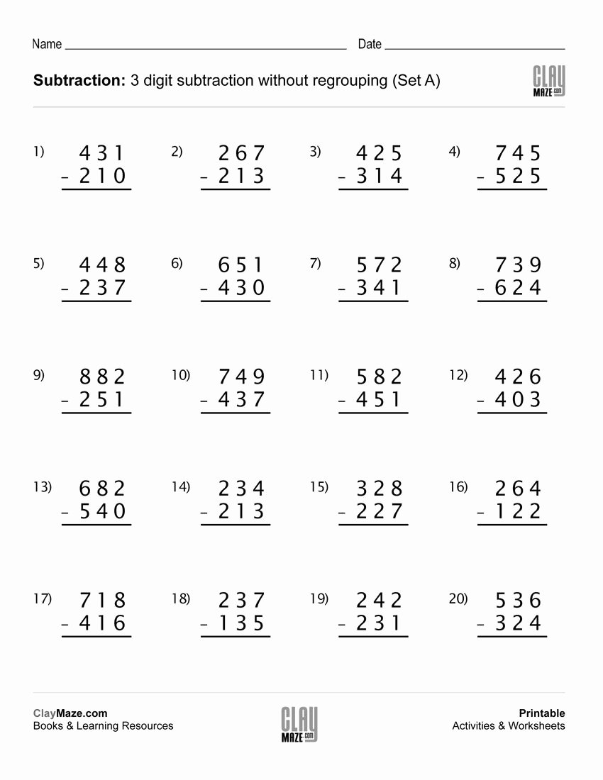 Regrouping Subtraction Worksheets 3rd Grade Lovely Download Our Free Printable 3 Digit Subtraction Worksheet