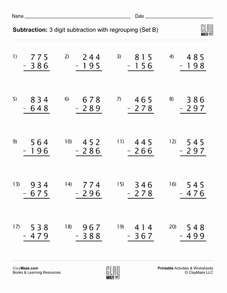 Regrouping Subtraction Worksheets 3rd Grade Printable Subtraction Worksheet Digit with Regrouping Set Free