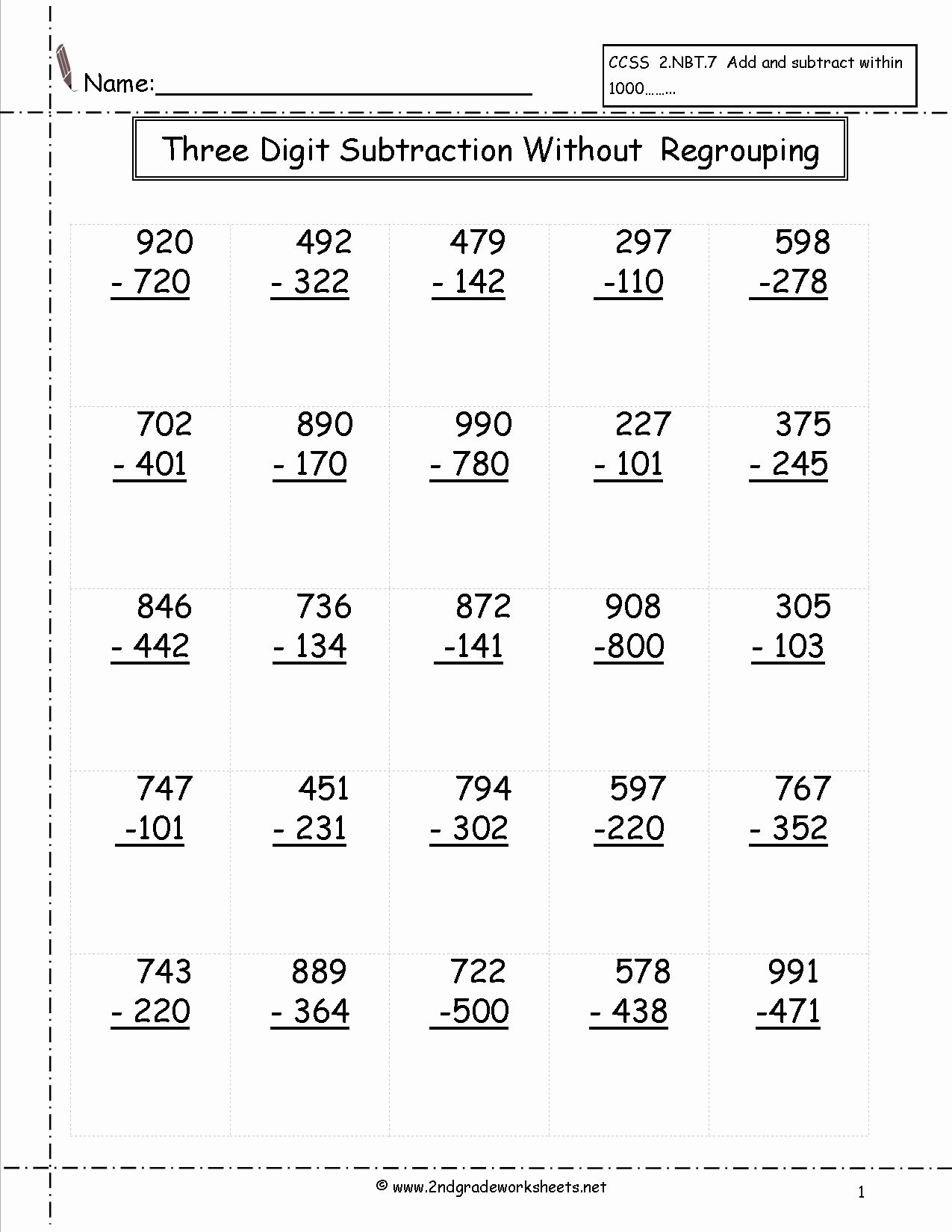 Regrouping Subtraction Worksheets 3rd Grade Printable Worksheet Printable Subtraction Worksheets for First Grade