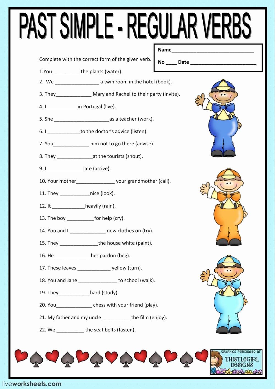 Regular Past Tense Verb Worksheets Lovely Regular Verbs Past Tense Regular Verbs Worksheet