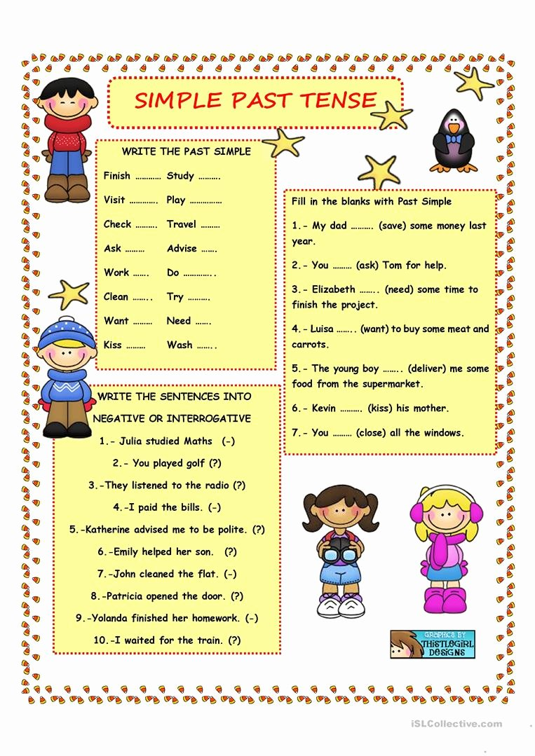 Regular Past Tense Verb Worksheets Printable Simple Past Tense Regular Verbs English Esl Worksheets