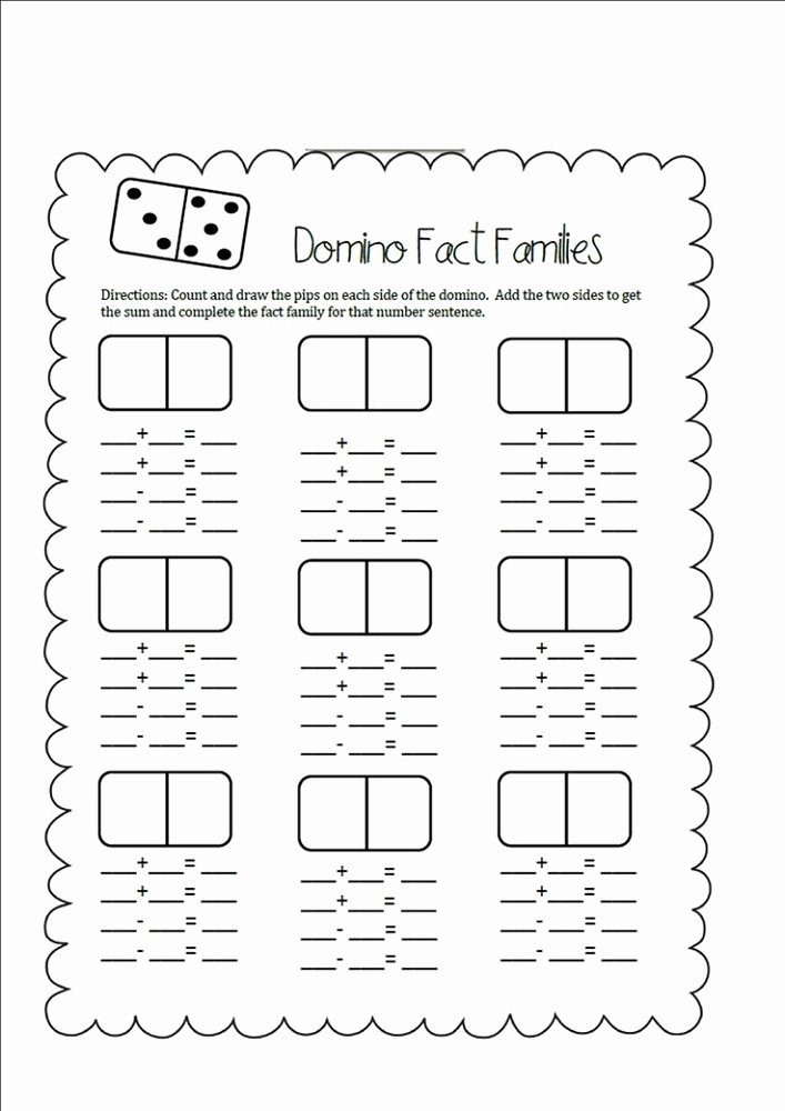 Related Facts First Grade Worksheet Inspirational Fact Families Worksheets First Grade
