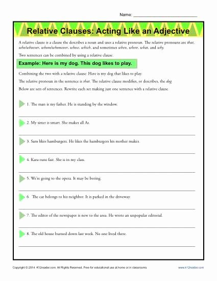 Relative Adverbs Worksheet 4th Grade Kids Relative Clauses Acting Like An Adjective