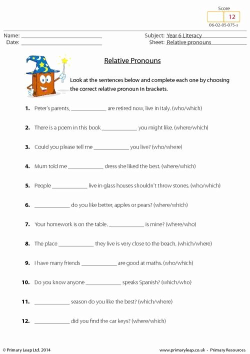 Relative Pronoun Worksheet 4th Grade Kids Primaryleap Relative Pronouns Worksheet …