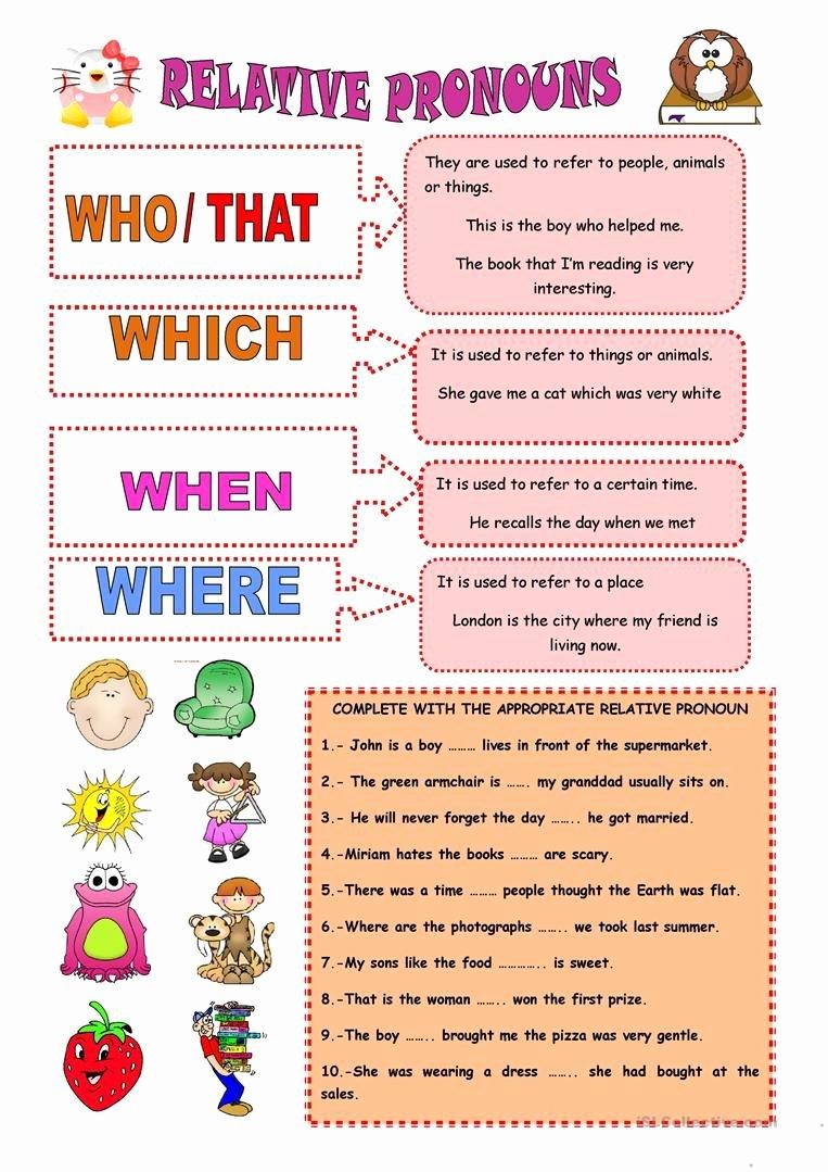 Relative Pronoun Worksheets 4th Grade Best Of Relative Pronouns