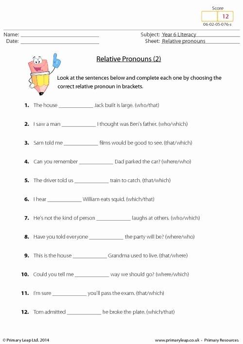 Relative Pronoun Worksheets 4th Grade Fresh Primaryleap Relative Pronouns 2 Worksheet