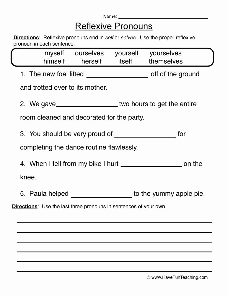 Relative Pronoun Worksheets 4th Grade Inspirational Reflexive Pronouns Worksheet