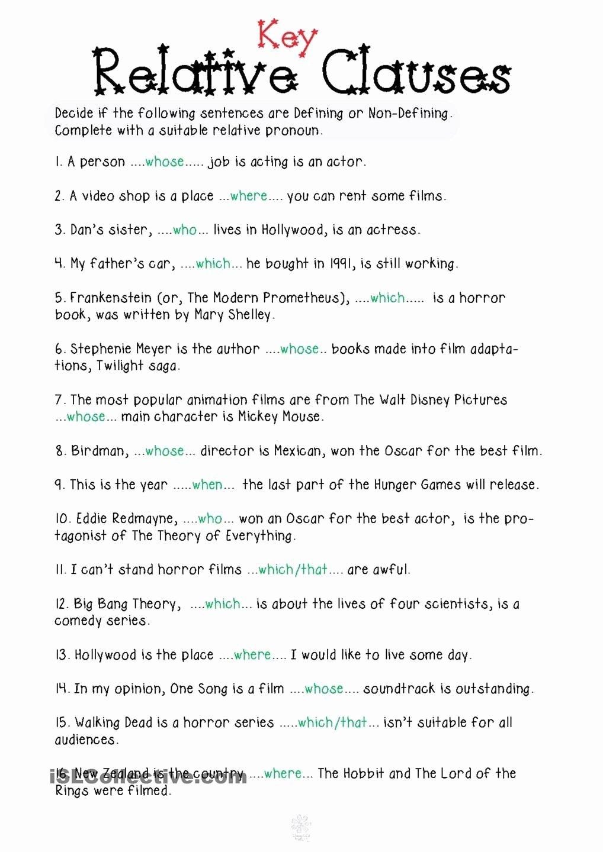 Relative Pronoun Worksheets 4th Grade Lovely Relative Pronouns Worksheet Grade 4 Relative Clauses In 2020