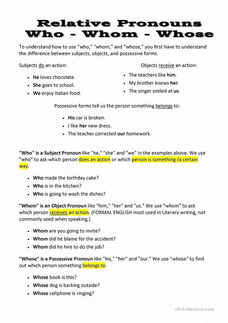 Relative Pronouns Worksheet 4th Grade Printable who whose whom Worksheet