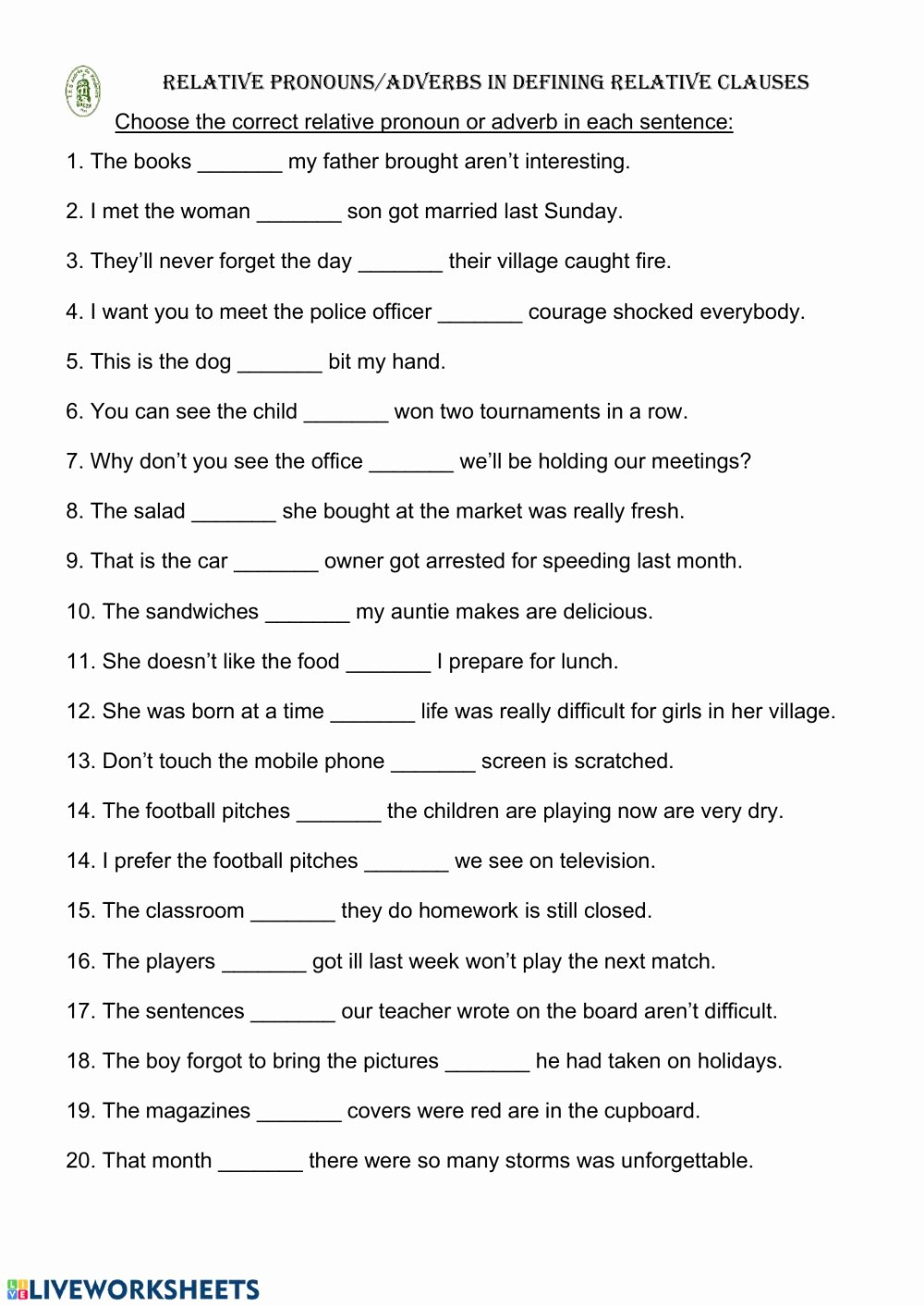 Relative Pronouns Worksheet Grade 4 Fresh Relative Pronouns Adverbs Interactive Worksheet