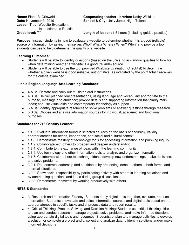Reliable sources Worksheet Middle School Inspirational Website Evaluation Lesson Plan