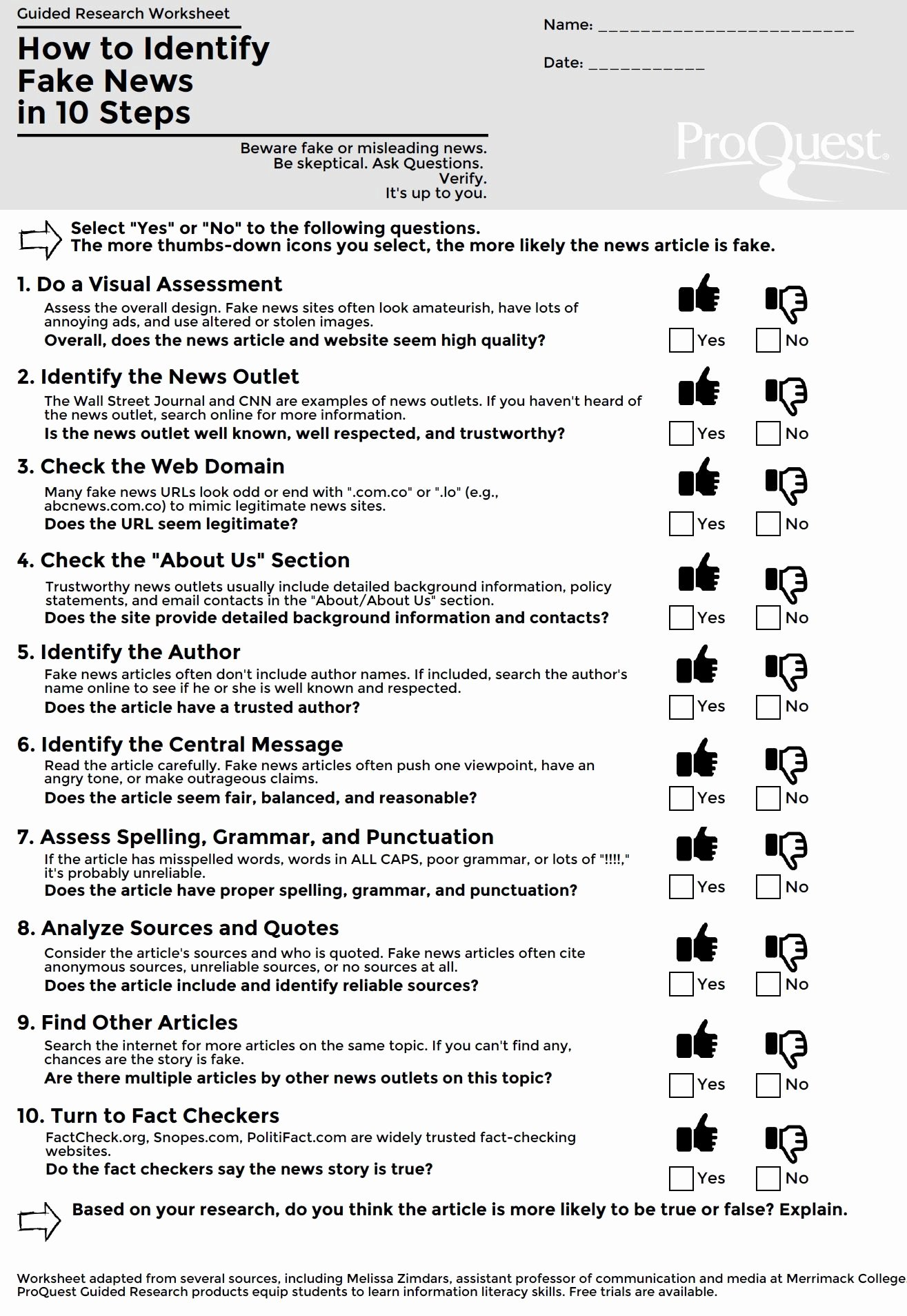 Reliable sources Worksheet Middle School New This Blog Archive How to Identify Fake News In 10