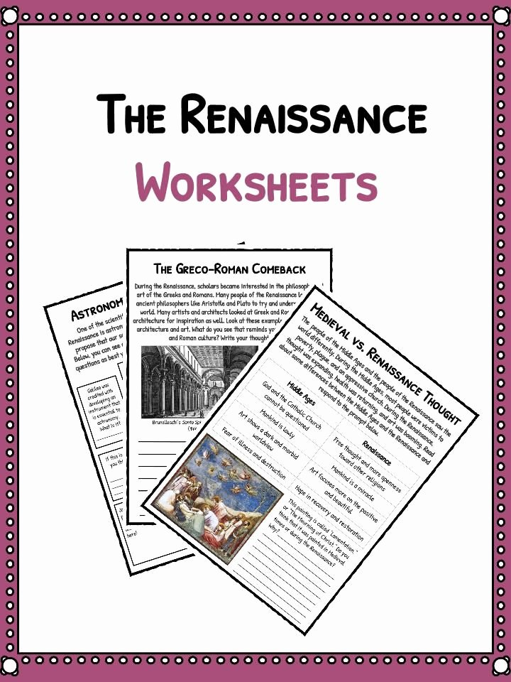 Renaissance Worksheets for Middle School Best Of the Renaissance is A Period From the 14th to the 17th