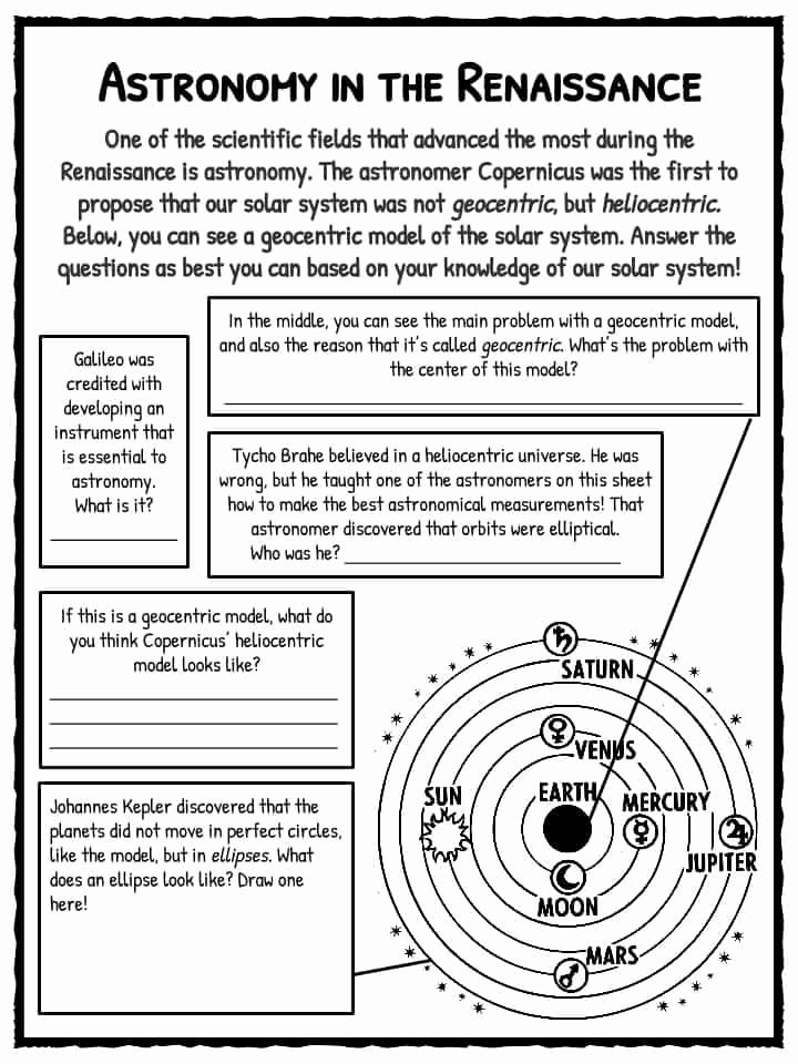 Renaissance Worksheets for Middle School Free the Renaissance Period Facts Information & Worksheets