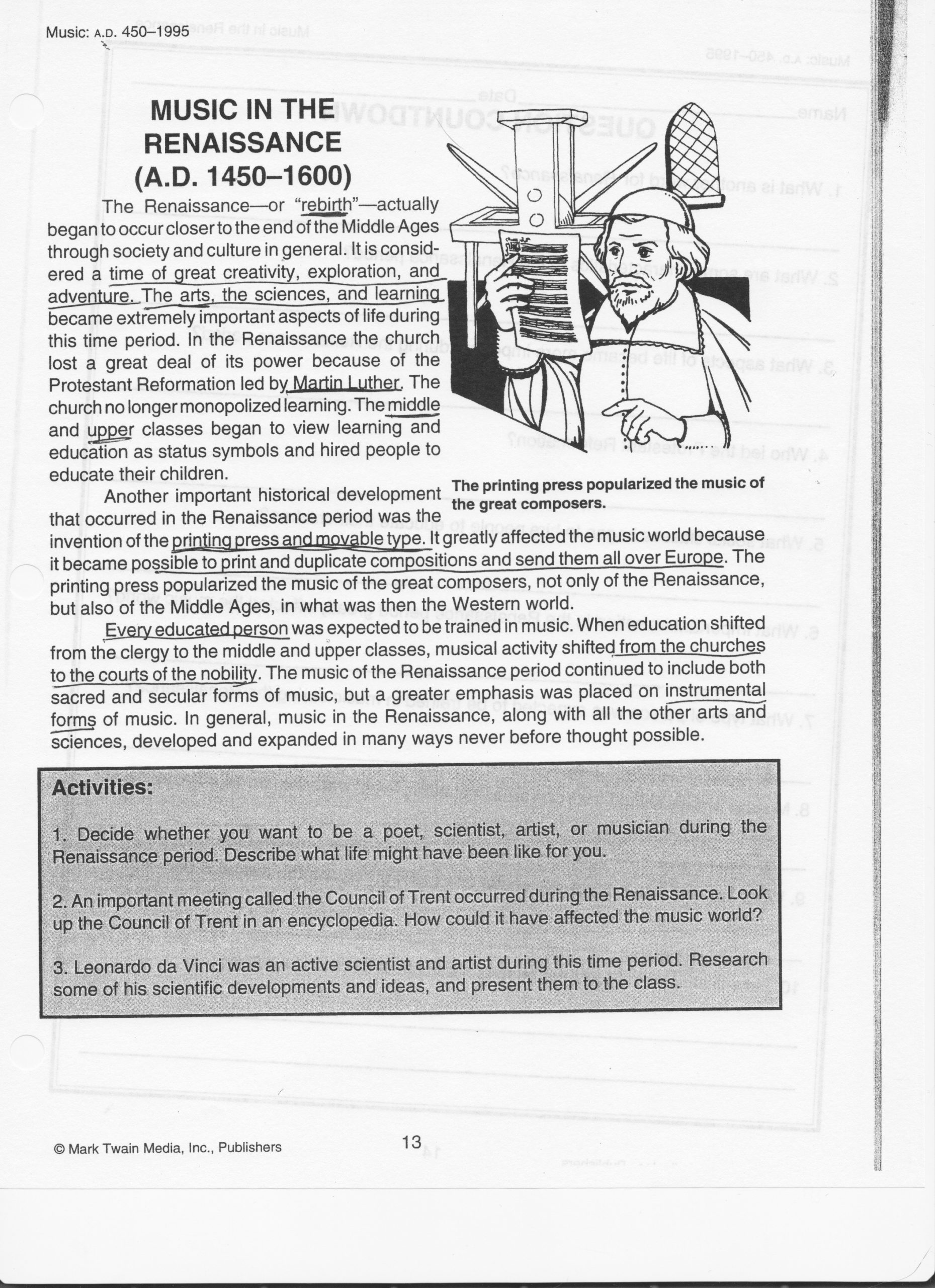 Renaissance Worksheets for Middle School Ideas Renaissance Art Worksheet