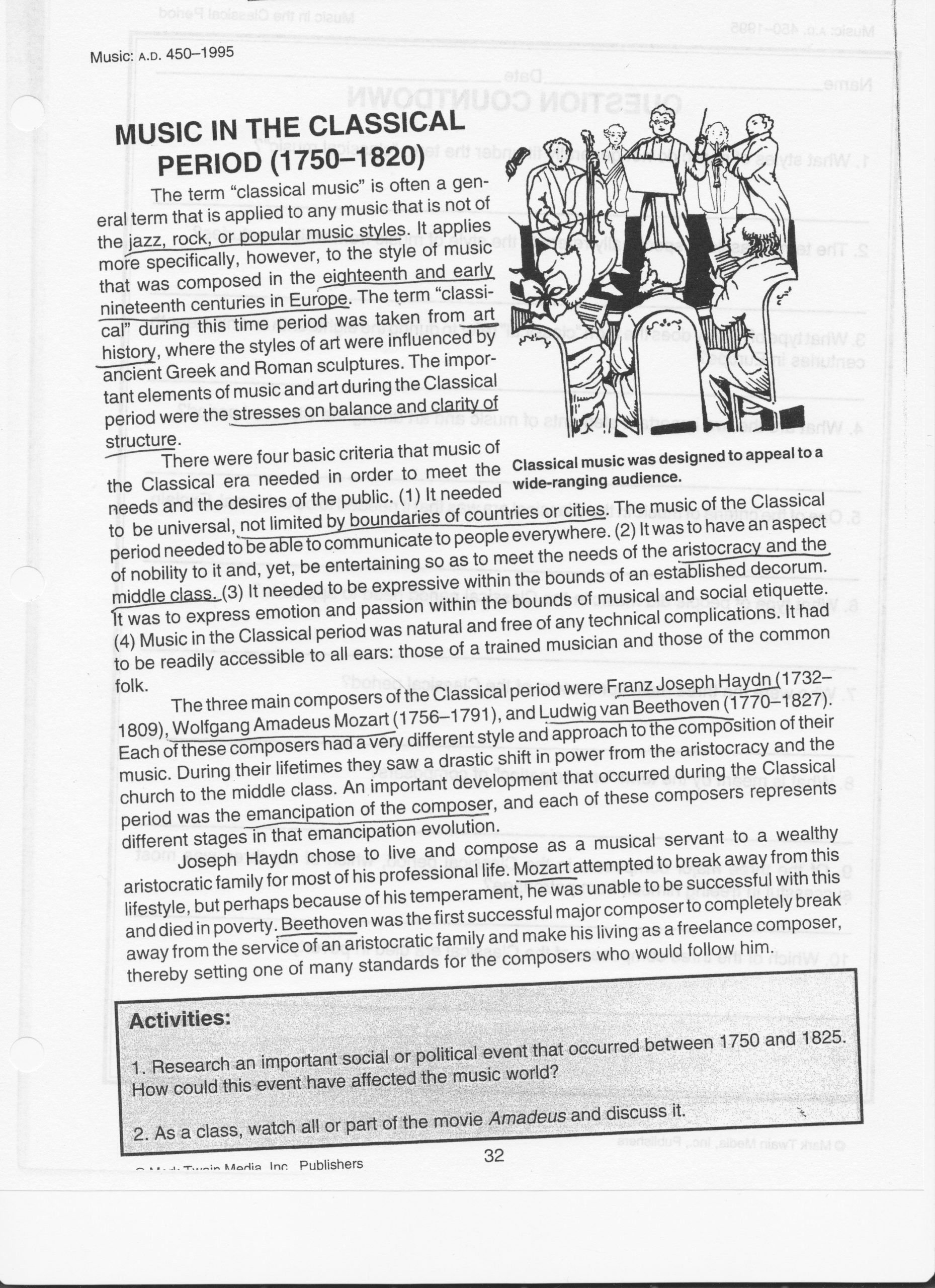 Renaissance Worksheets for Middle School Inspirational Renaissance Worksheets for Middle School Music Worksheets In