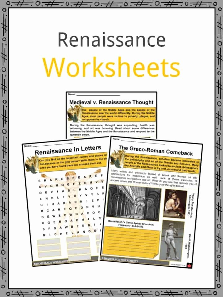 Renaissance Worksheets for Middle School Kids the Renaissance Period Facts Information Worksheets