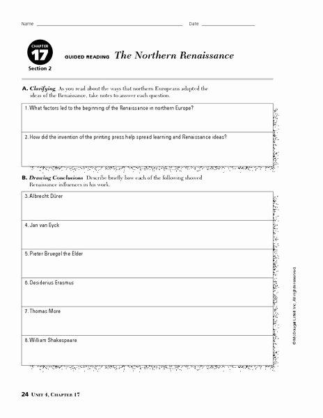 Renaissance Worksheets for Middle School Printable the northern Renaissance Worksheet Lesson Planet