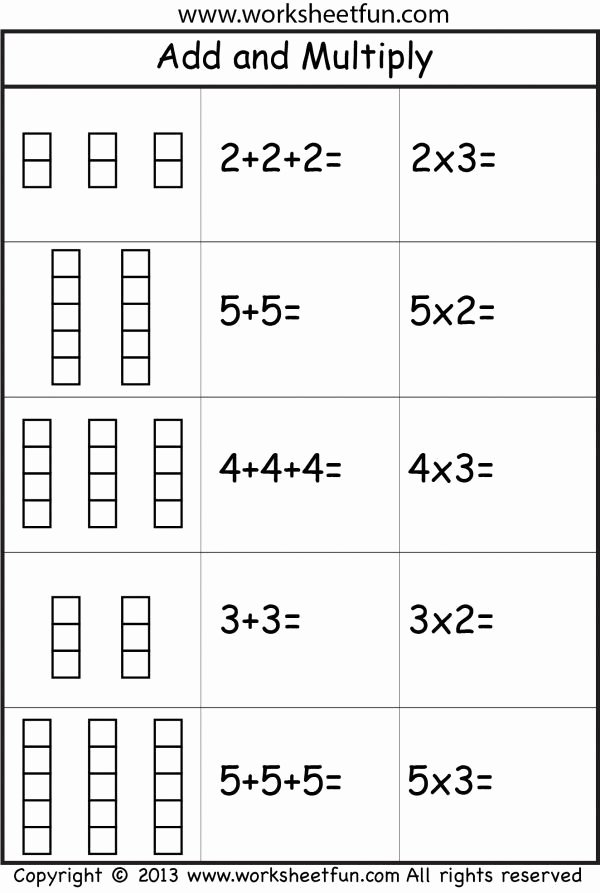 Repeated Addition Worksheets 2nd Grade Printable Repeated Addition and Multiplication