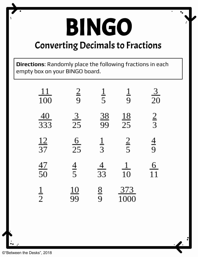 Repeating Decimals to Fractions Worksheet Fresh Converting Decimals to Fractions Bingo