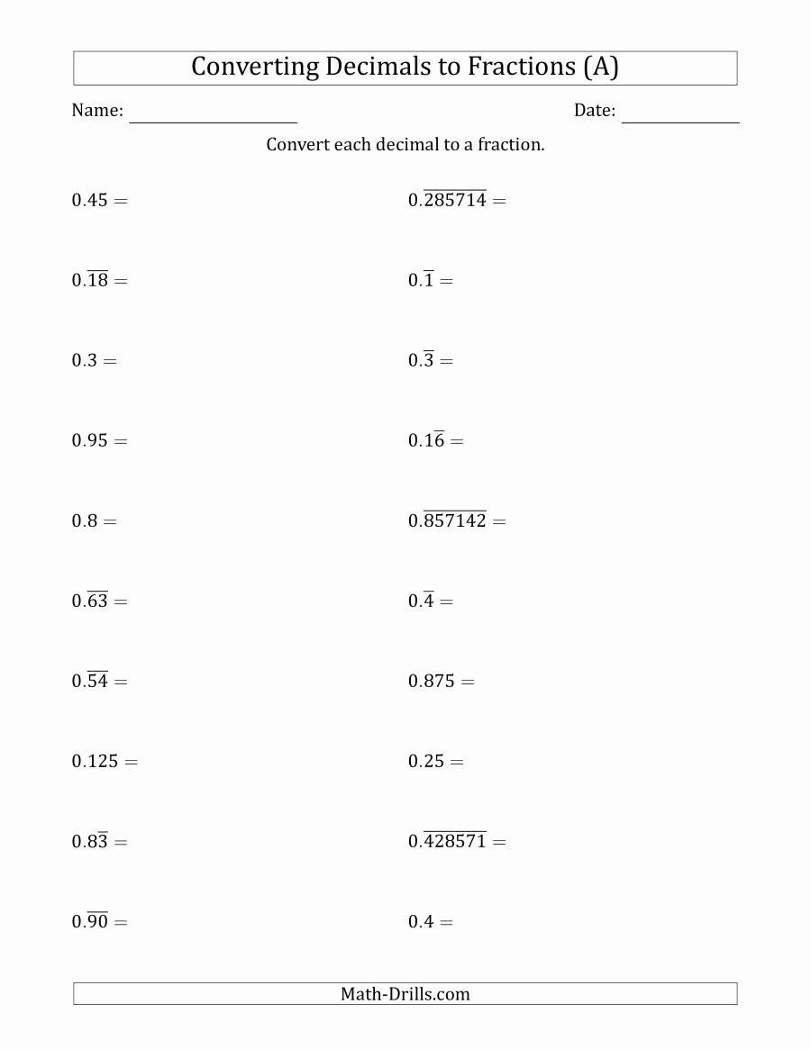 Repeating Decimals to Fractions Worksheet Inspirational Converting Terminating and Repeating Decimals to Fractions A